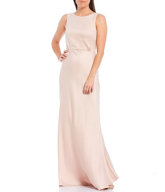 Color:Oyster - Image 1 - Boat Neck Sleeveless Solid Satin Crepe Mermaid Gown