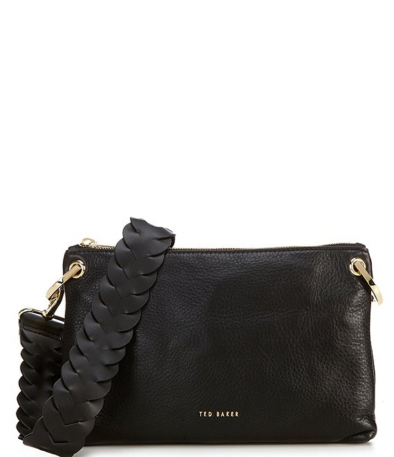 Color:Black - Image 1 - Braided Strap Leather Crossbody Bag