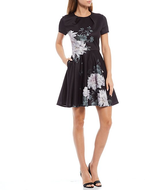 Color:Black Floral - Image 1 - Luicy Clove Floral Print Short Sleeve Skater Dress