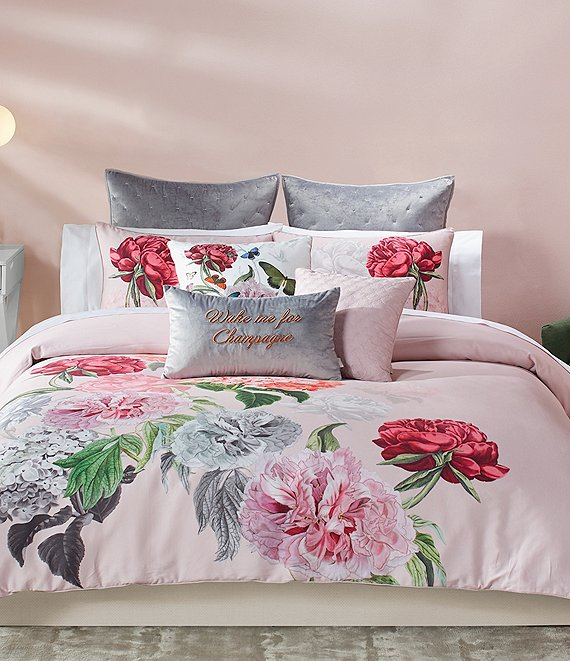 Color:Pink - Image 1 - Palace Garden Floral Sateen Comforter Mini Set