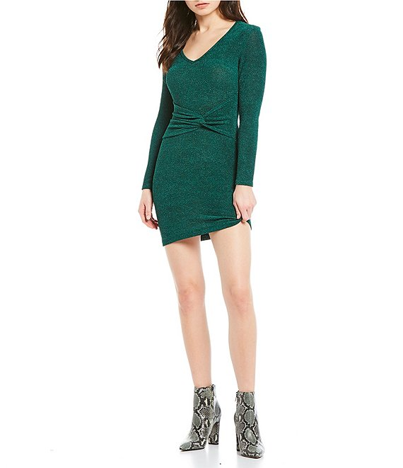 Teeze Me Long Sleeve Knot Waist Sheath Dress