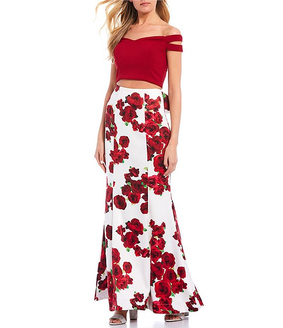 Color:Off White/Red - Image 1 - Off-the-Shoulder Cap-Sleeve Top with Floral Print Trumpet Skirt Two-Piece Dress