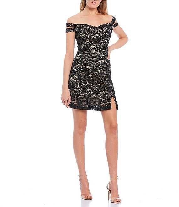 Color:Black/Nude - Image 1 - Off-the-Shoulder Double Strap Sleeve Two-Tone Lace Bodycon Dress