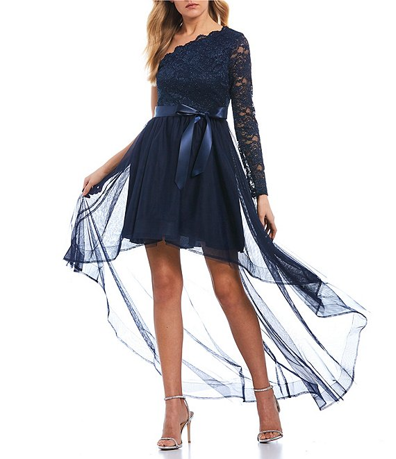 Color:Navy - Image 1 - One-Sleeve Scalloped Glitter Lace High-Low Dress