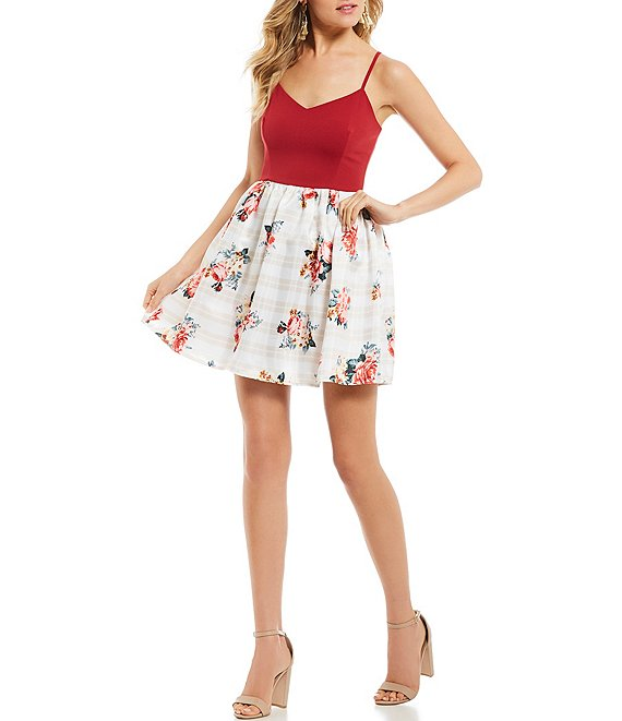 Teeze Me Spaghetti Strap Solid Bodice Floral Fit-And-Flare Dress