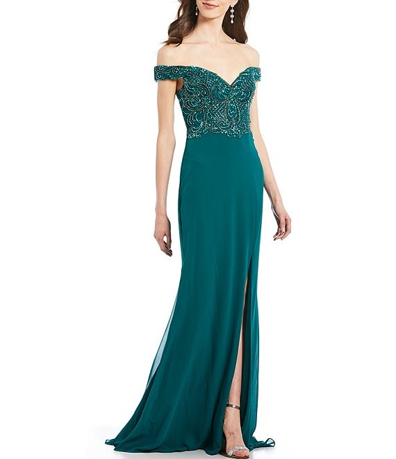 Terani Couture Off-the-Shoulder Beaded Bodice Chiffon Gown