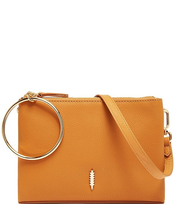 Color:Caramel - Image 1 - Donna Ring Handle Leather Crossbody Bag