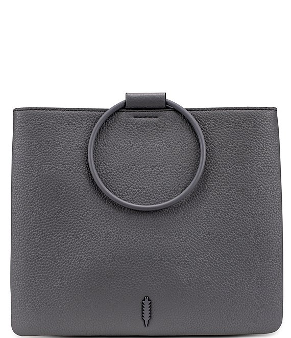 Color:Steel - Image 1 - Le Pouch Leather Ring Handle Crossbody Bag