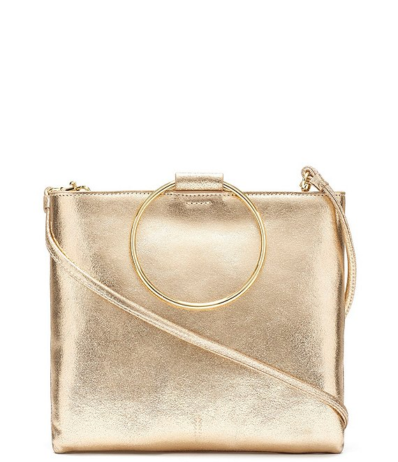 Color:Vintage Gold - Image 1 - Le Pouch Metallic Ring Handle Crossbody Bag