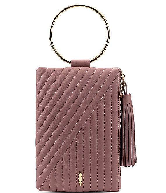 Color:Dusty Rose - Image 1 - Nolita Ring Handle Quilted Clutch