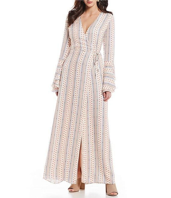 The Jetset Diaries Wild Child Bell Sleeve Maxi Wrap Dress