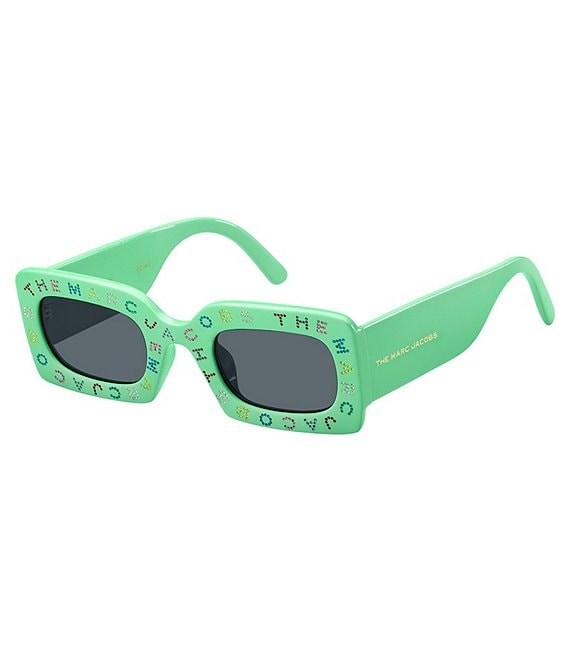 Color:Green - Image 1 - The Marc Jacobs Rectangle Logo Sunglasses