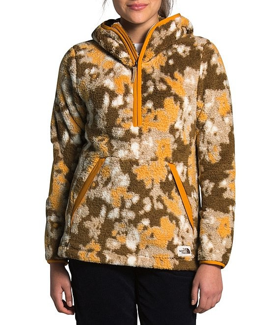 Color:Hawthorne Khaki/Abstract Ikat Print - Image 1 - Campshire 2.0 Camouflage Sherpa Fleece Partial Zip Up Pullover Hoodie