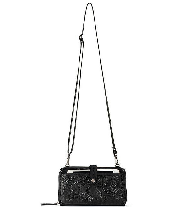 Color:Black Leaf Emboss - Image 1 - Iris Large Smartphone Convertible Crossbody Wristlet