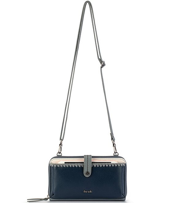 Color:Denim Block - Image 1 - Iris Large Smartphone Leather Convertible Crossbody Wristlet