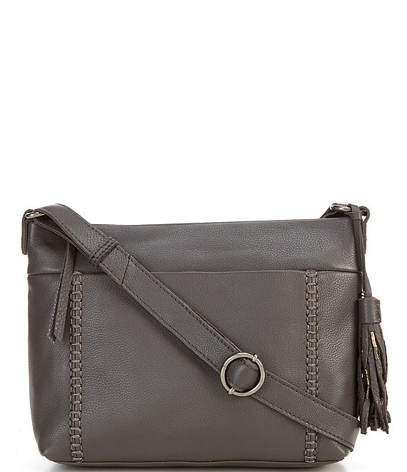 Color:Slate - Image 1 - Melrose Top Zip Leather Crossbody Bag