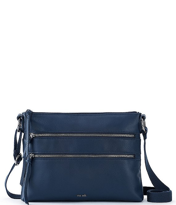 Color:Indigo - Image 1 - Reseda Leather Multi Zip Crossbody Bag