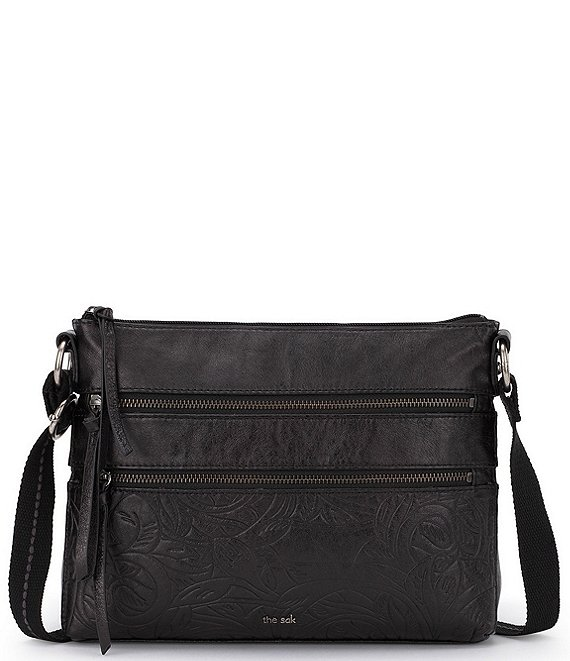 Color:Black Leaf - Image 1 - Reseda Double Zip Top Leather Crossbody Bag