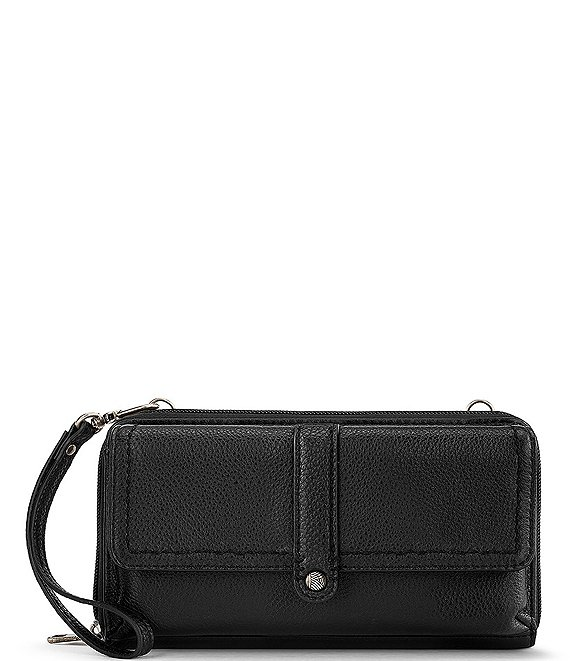 Color:Black - Image 1 - Sequoia Leather Flap Smartphone Crossbody Bag