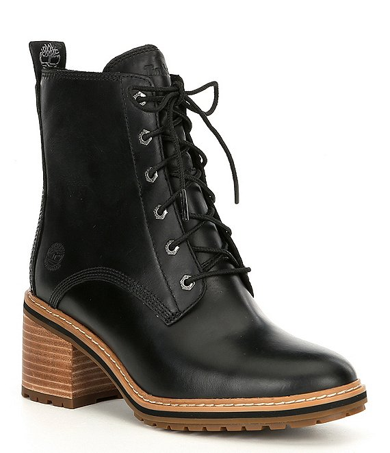 Timberland Sienna Waterproof Leather High Lace Up Block Heel Hiker Boots
