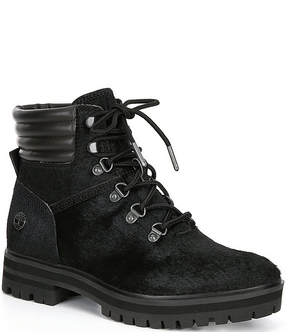 Color:Black - Image 1 - Women's London Square Haircalf Mid Hiker Block Heel Lug Sole Boots