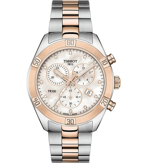 Color:Two-Tone - Image 1 - PR 100 Sport Chic Colorblock Chronograph Watch
