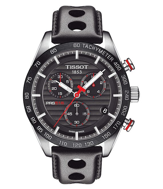 Color:Black - Image 1 - PRS 516 Chronograph Black Leather Strap Watch