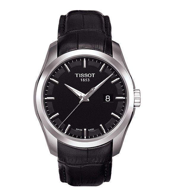 Tissot T-Classic Couturier Analog & Date Leather-Strap Watch