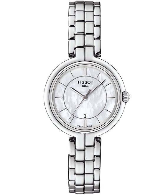 Color:Silver - Image 1 - T-Lady Flamingo Mother-of-Pearl Analog Bracelet Watch