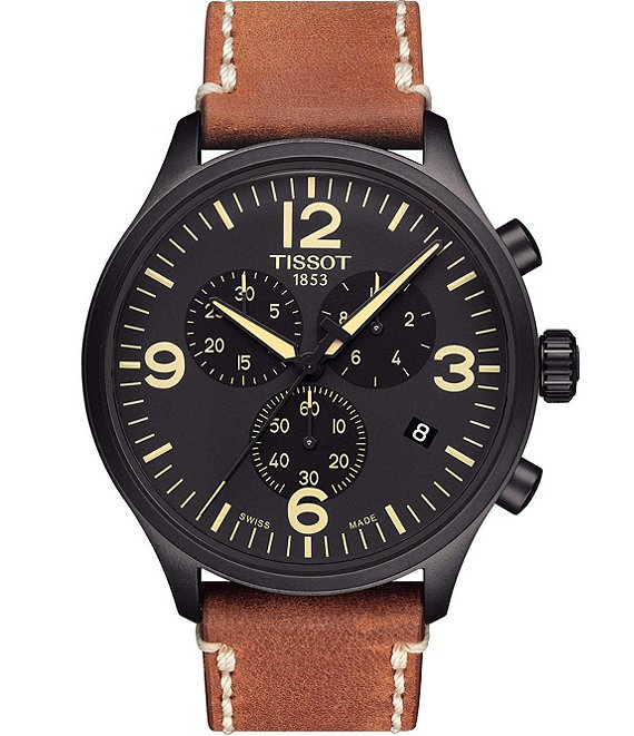 Color:Brown - Image 1 - T-Sport Black Chrono XL Chronograph & Date Leather-Strap Watch
