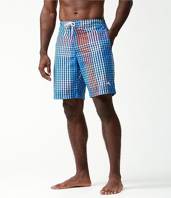 Color:Ocean Deep - Image 1 - Baja King Of Gingham 9#double; Inseam eBoard Shorts