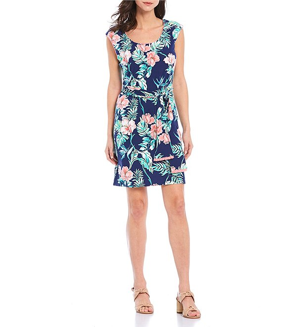 Color:Island Navy - Image 1 - Banaglore Blossoms Floral Print Stretch Short Dress