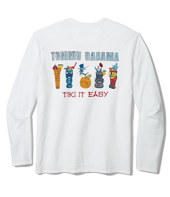Color:White - Image 1 - Big & Tall Tiki It Easy Lux Long-Sleeve Tee