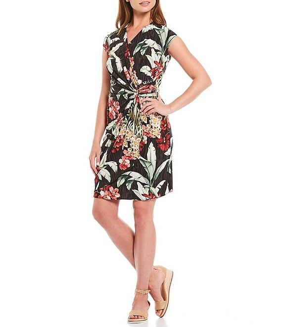 Color:Black - Image 1 - Clara Ocean Orchid Floral Print Short Sleeve Side Cinch Detail Faux Wrap Dress