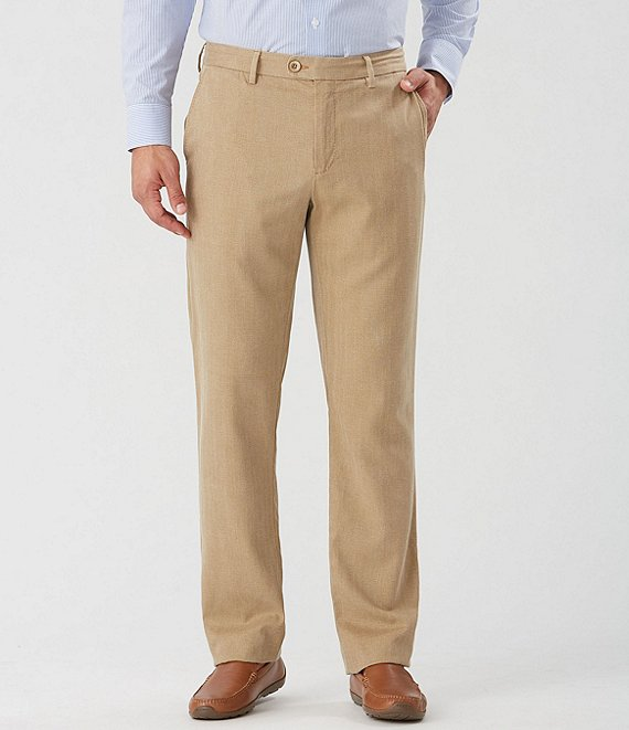 Color:British Bourbon - Image 1 - Havana Herringbone Flat-Front Pants