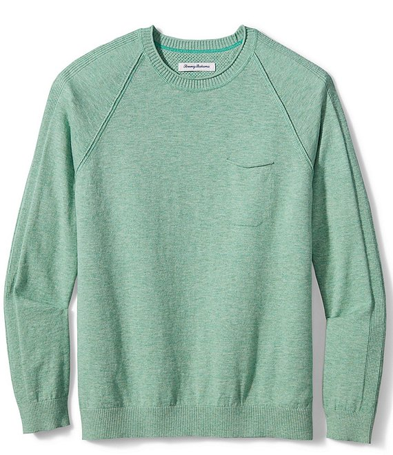 Color:Jade Cream Heather - Image 1 - Sea Mist Pocket Crew Long-Sleeve Sweatshirt