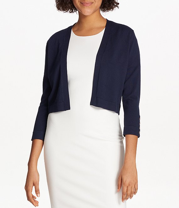 Color:Navy - Image 1 - Button Sleeve Open Front Shrug