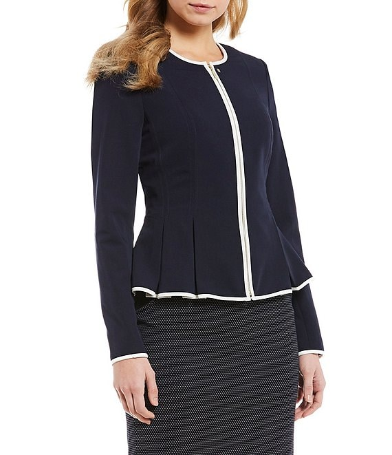 Tommy Hilfiger Contrast Pipe Trim Zip Front Peplum Pleated Jacket ...