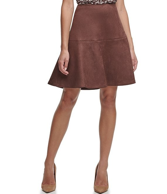 Color:Chicory - Image 1 - Faux Suede Flared Skirt