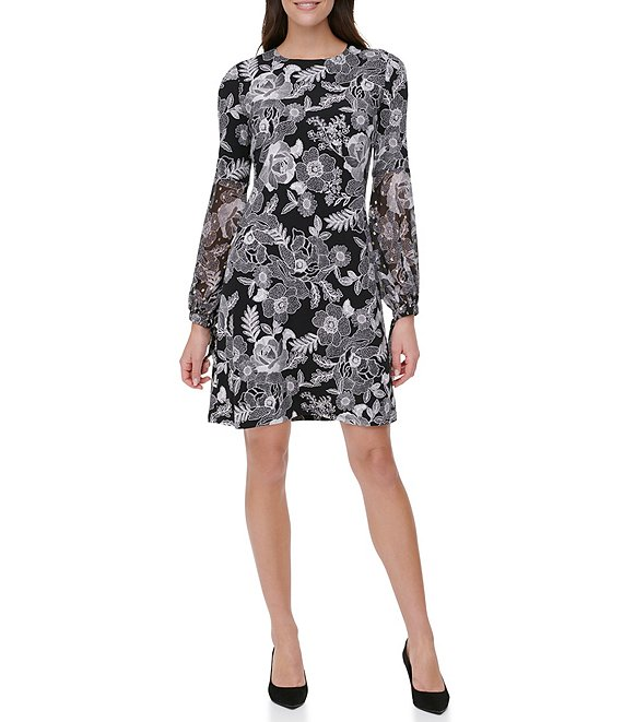 Color:Black/Cream - Image 1 - Floral Print Long Balloon Sleeve Jersey Chiffon A-line Dress