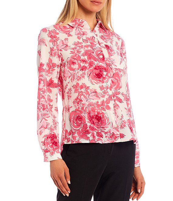Color:Peony Multi - Image 1 - Floral Print Roll Tab Sleeve Button Front Top