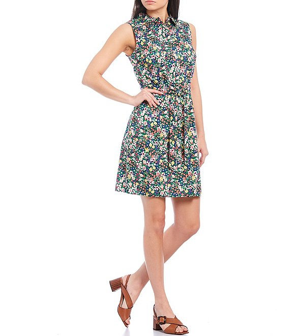 Color:Sky Captain Multi - Image 1 - Floral Print Tie Waist Sleeveless Collared Shirt Dress