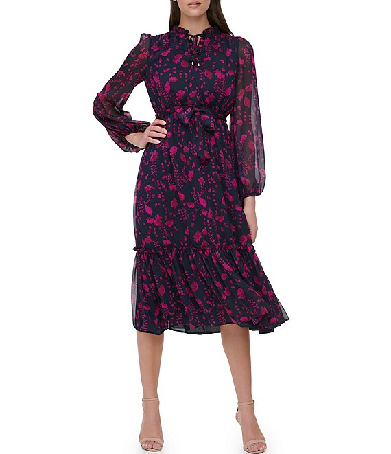 Tommy Hilfiger Long Sleeve Split V-Neck Ruffle Hem Floral Print Chiffon Midi Dress