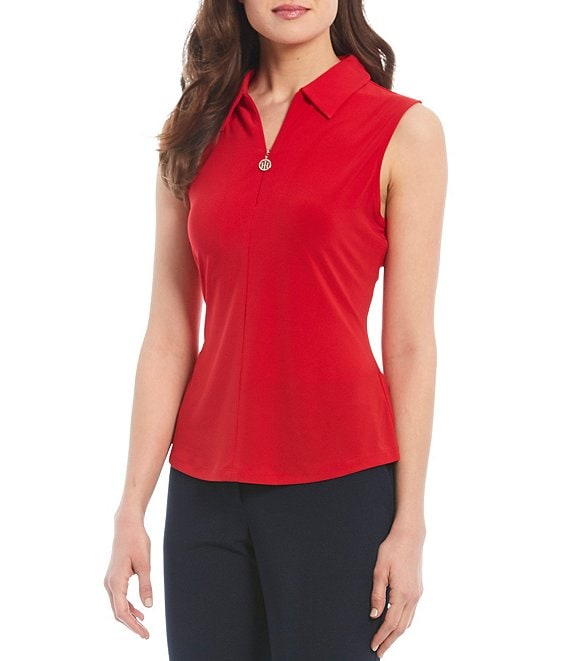 Color:Scarlet - Image 1 - Matte Knit Jersey Quarter Zip Sleeveless Top