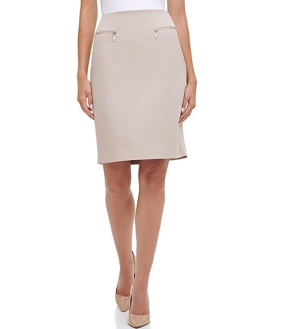 Tommy Hilfiger Metal Zipper Faux Pocket Detail Pencil Stretch Woven Skirt