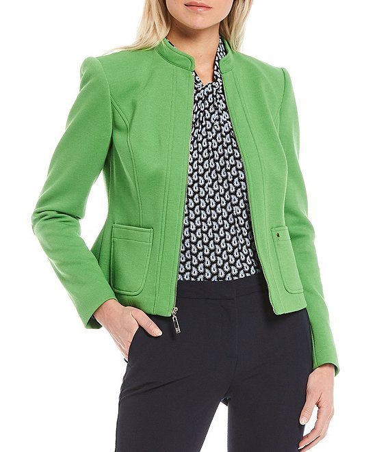 Color:Leaf - Image 1 - Pique Scuba Knit Band Collar Zip-Front Jacket