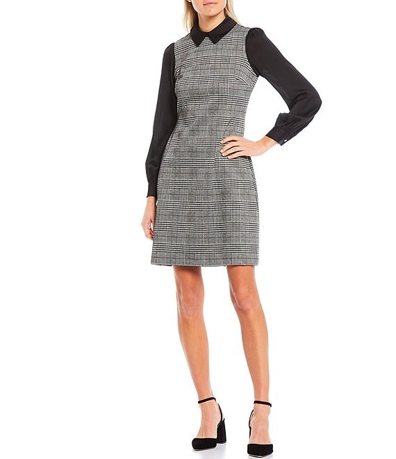 Color:Black/Tannin - Image 1 - Retro Plaid Long Sleeve Collared A-Line Dress