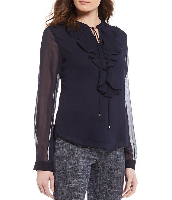 Color:Midnight Navy - Image 1 - Ruffle Front Long Sleeve Crinkle Chiffon Top