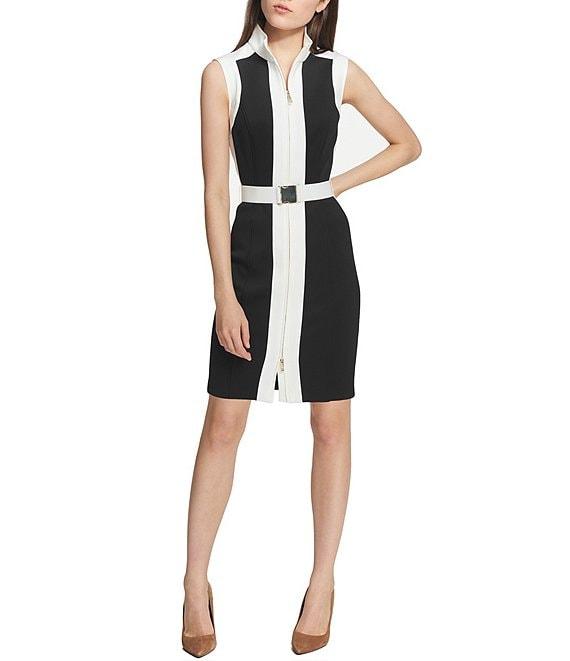 859b2db6 Tommy Hilfiger Scuba Colorblock Zip Front Belted Sheath Dress | Dillard's