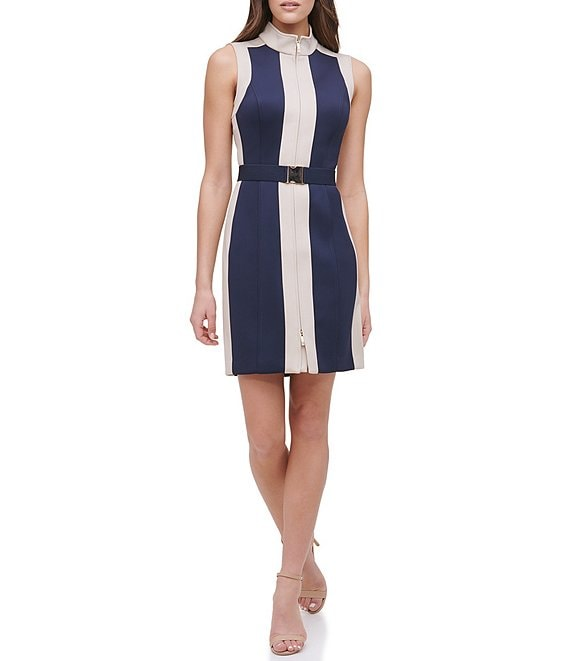 Color:Sky Captain/Khaki - Image 1 - Scuba Colorblock Zip Front Belted Sheath Dress